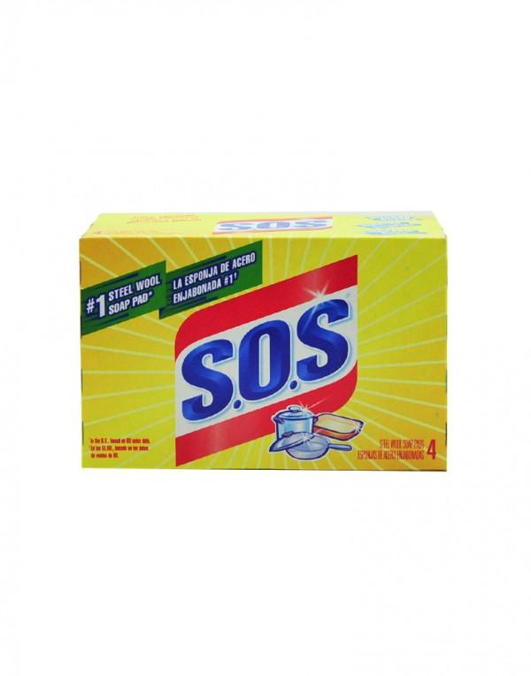 S.O.S 清洁用肥皂钢丝绒 4块-6710