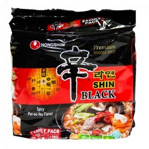 韩国方便面Nongshim 黑色拉面 家庭包泡面(4袋装)130g x 4-0