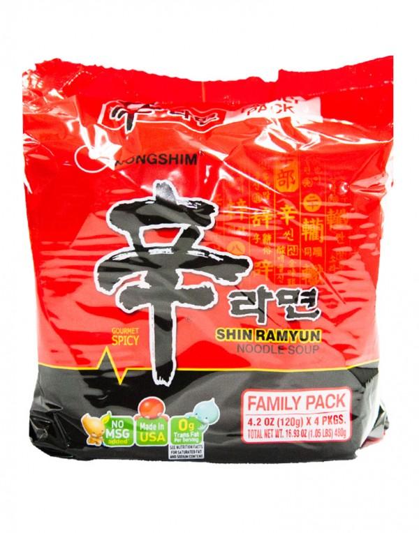 韩国方便面Nongshim 红色拉面整包泡面(4袋装)120g x 4-0
