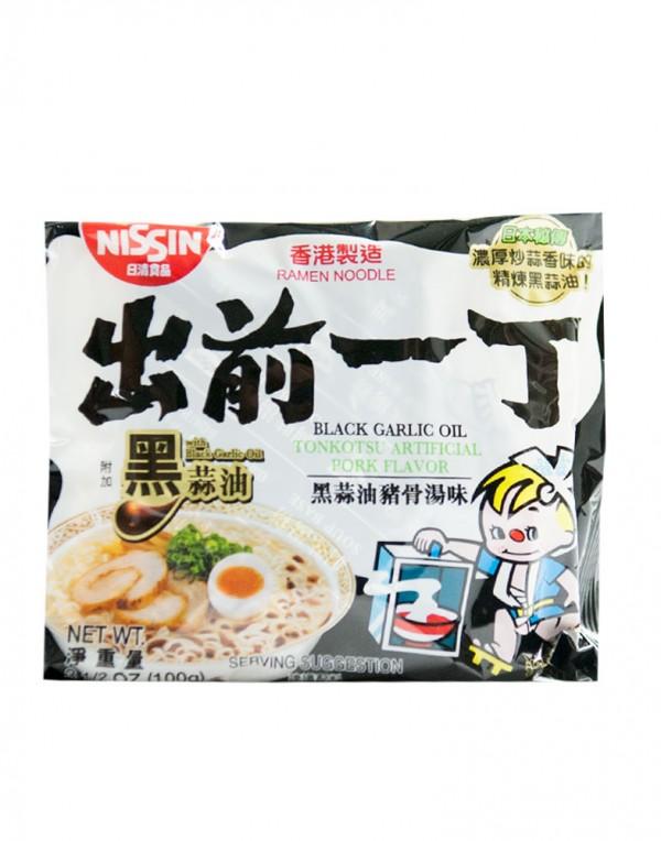日本日清Nissin 出前一丁 黑蒜油猪骨汤面 (袋装)100g-0